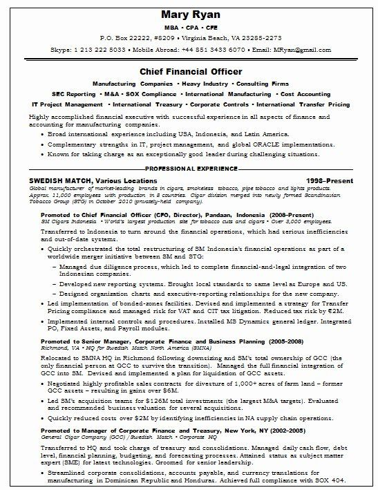 Chief Financial Officer Resume Example Awesome Resume Samples Chief Financial Ficer Agriculture Chief Financial Officer Financial Cfo