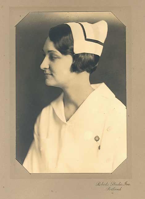 Lovely 1920 Vintage Nurse in her Uniform Portrait Photograph