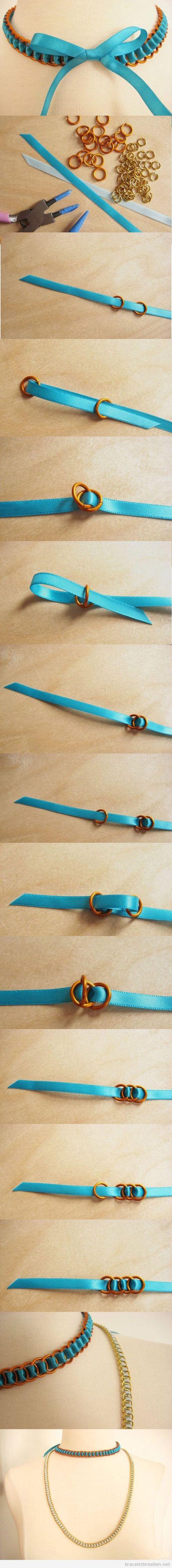 Faisez attention a ce truc pour anneler les aneux et le ruban de satin en vue de fabriquer des colliers et bracelet simples, j'adore ce tuto! C'est plus simple si vous utilisez des pinc…