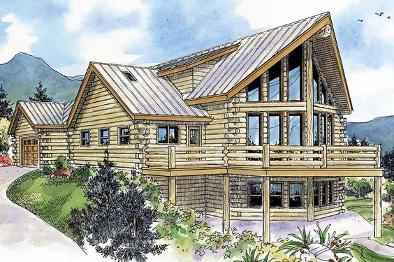 This modern log home blends rustic appeal with all the amenities you'd expect to find in a contemporary home plan. An array of windows sparkle across the view side's central section. Its traditional A