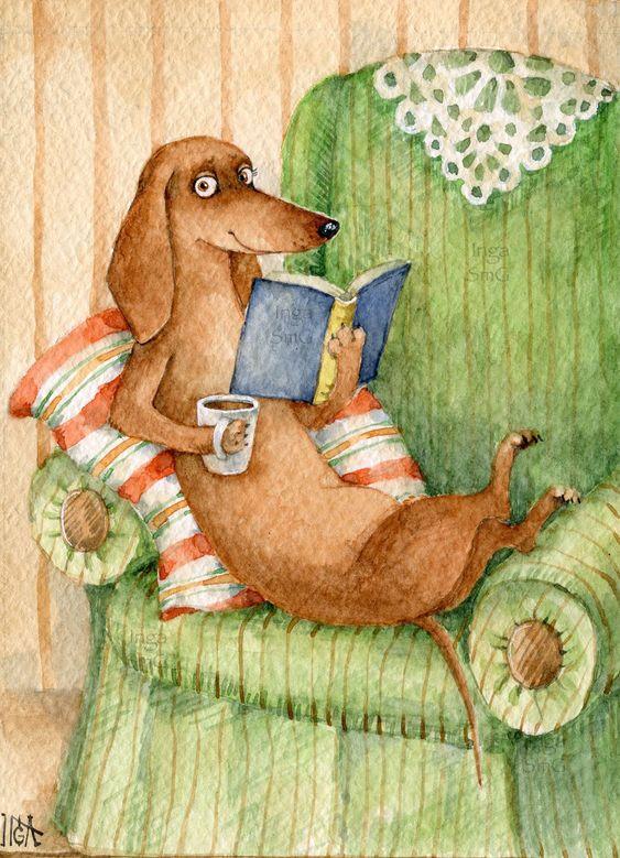 Инга Измайлова такса кресло книга чтение ученый кофе отдых открытка иллюстрация