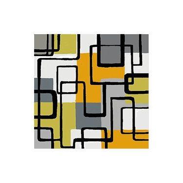 Retro - Mod - Geometric - Squares - Modern Art - Giclee - Urban - Chartreuse Gray Mustard Black Fine Art. $18.00, via Etsy.