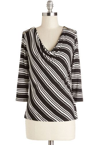 Rise and Line Top - Mid-length, Jersey, Knit, Black, White, Stripes, Work, 3/4 Sleeve, Cowl