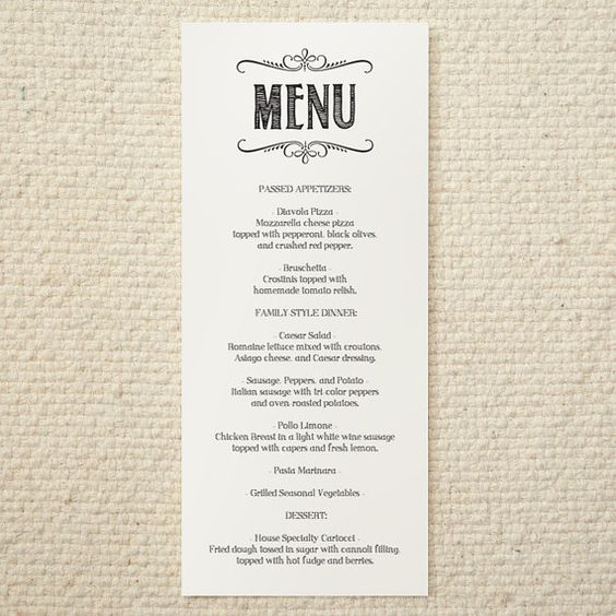 Diy wedding menu handlettered rustic love printable for Menu templates for weddings