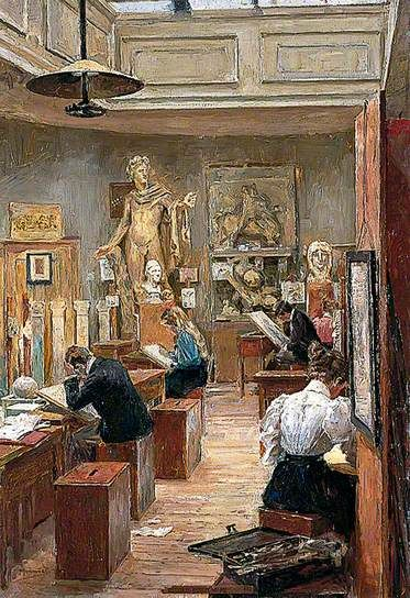 """""""The Painting Room, Norwich School of Art"""", 1897. Alfred James Munnings (1878–1959), British artist. Norwich Castle Museum & Art Gallery.:"""