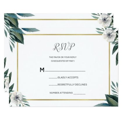 White Green Leaves Anemone Floral Rsvp Reply Zazzle Com