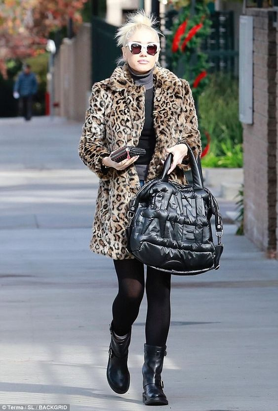 Pur-fect! Gwen embraced the winter season by sporting her favourite chic leopard faux-fur coat while taking a stroll in Studio City, California, on Friday