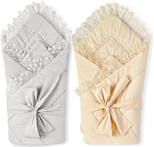 Конверт на выписку из роддома для новорожденного. Приятного цвета, красиво украшен вышивкой и тесьмой.: