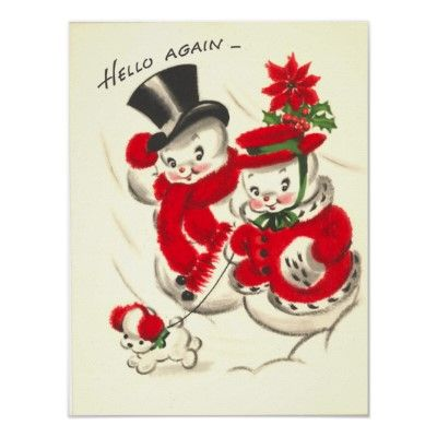 Vintage Snowman Couple Print from Zazzle.com