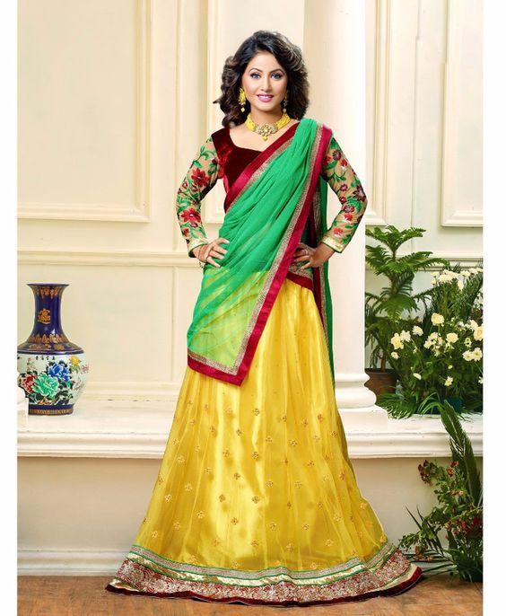 Hina Khan Yellow Net Wedding Lehenga Choli 61232