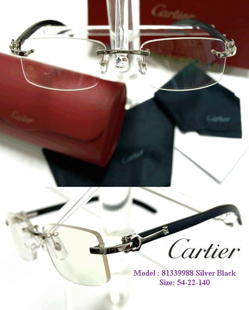 beautiful classy rimless cartier eyeglasses model no 81339988 silver frame with black wood