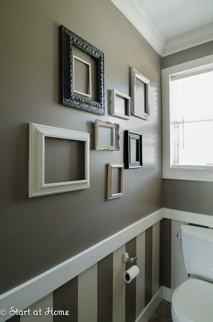 Half bath love the molding strip with wallpaper and for Advanced molding and decoration