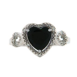 Diamond Heart Shaped Black Onyx Birthstone Sterling Silver Ring Available Exclusively at Gemologica.com