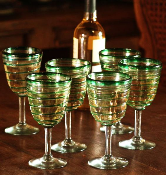 Enticing green spirals adorn this set of six wine #goblets, beautifully designed by Javier and Efrén.