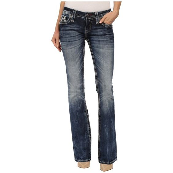 Rock Revival Abelen B Bootcut Women's Jeans ($174) ❤ liked on Polyvore featuring jeans, slim boot cut jeans, bootcut jeans, frayed jeans, indigo jeans and boot cut jeans