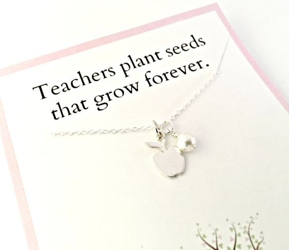 Teacher Gift - Sterling Silver Apple Necklace with Pearl - Teachers Plant Seeds that Grow Forever - Appreciation, End of the Year Class Gift by ForeverHeartPrints on Etsy