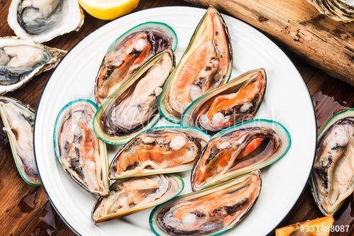 Assorted Fresh Shellfish Green Mussels Oysters Scallops Ad Affiliate Shellfish Fresh Assorted Green Scallops In 2020 Green Mussels Oysters Mussels