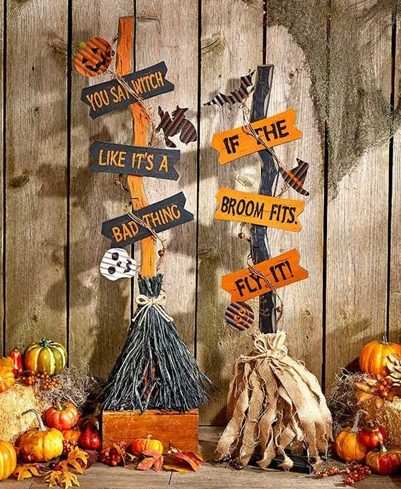 Accent your home in the spirit of the season with this Halloween Witch's Broom. It features natural elements such as grapevine, burlap and raffia alongside spoo