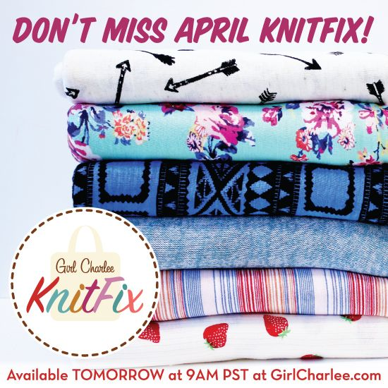 April KnitFix launches TOMORROW April 14th at 9:00 AM PST! KnitFix is first come, first serve and in a limited quantity available. March KnitFix sold out in 3 HOURS so shop early to secure yours! :: http://bit.ly/gcKnitFix