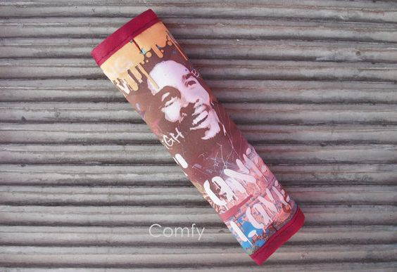 Seat Belt Cover - Bob Marley Custom Designed Fabric/Burgundy on reverse. by Comfy Accessories