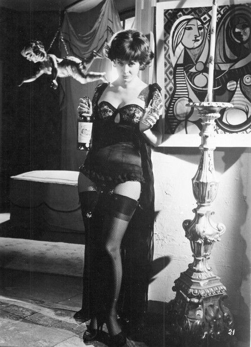 Eleonora Rossi Drago, amazing black lingerie with lace cups and ruffles...and booze!