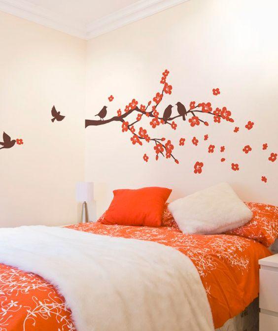 Cerezo p jaros vinilo adhesivo decoraci n de paredes - Ramas de arbol para decoracion ...