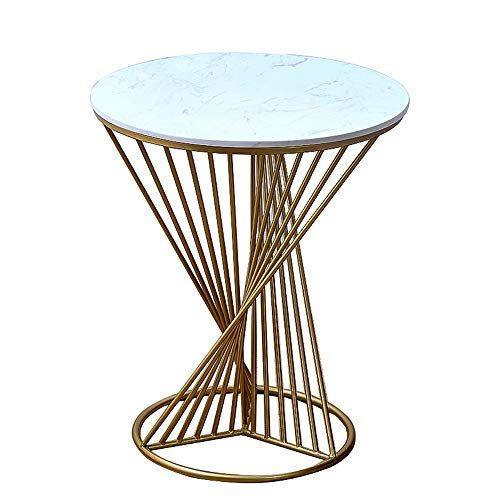 Feifei Side Table Wrought Iron Marble Gold Creative Round