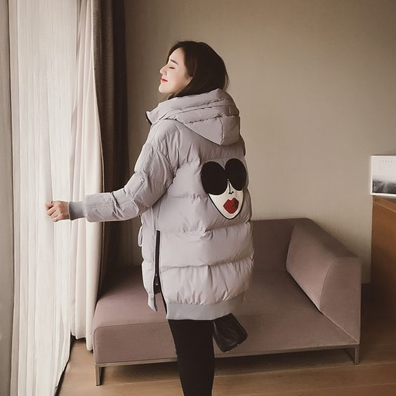 2016冬季新款韩版宽松时尚贴布棉衣女中长款加厚棉服连帽棉袄外套