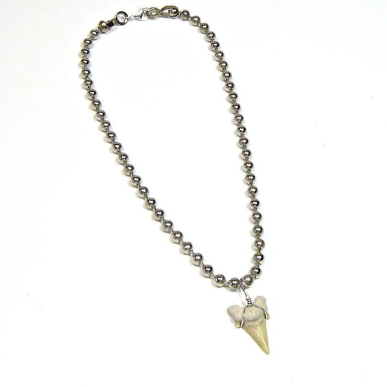 "Large Fossil Sharks Tooth Teeth Ball Chain Necklace Various Lengths 16""-30"" #Handmade #SurferTribal"