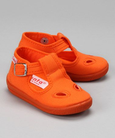 Take a look at this Cienta Orange Cutout T-Strap Shoe by European Trends: Kids' Shoes on #zulily today!