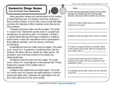Geometric Shape Names | 3rd Grade Reading Comprehension Worksheet
