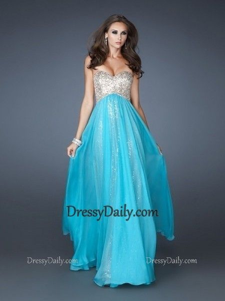 Sheath Sweetheart Chiffon and Sequins Floor length Prom Dresses