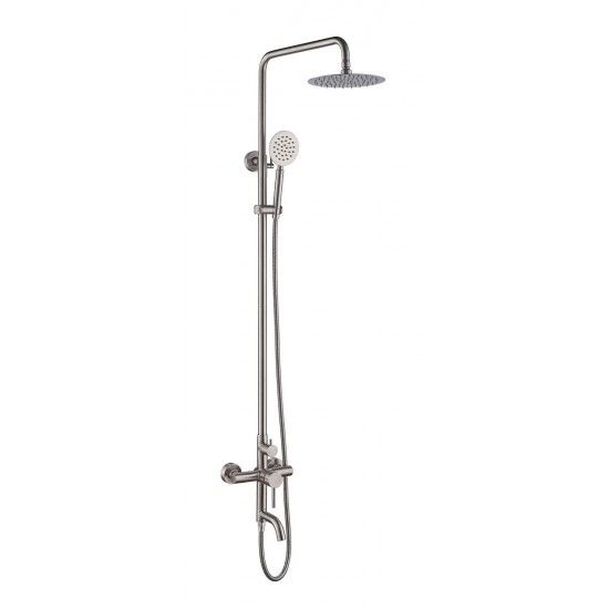 Outdoor Shower Fixtures Sus 304 Stainless Steel Wall Mounted 3 Functions Shower Systems Faucet Set With 7 9 Rain Shower Brushed Nickel Outdoor Shower Fixtures Outdoor Shower Shower Faucet Sets
