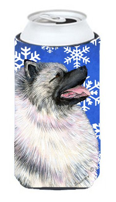 Keeshond Winter Snowflakes Holiday Tall Boy Beverage Insulator Beverage Insulator Hugger