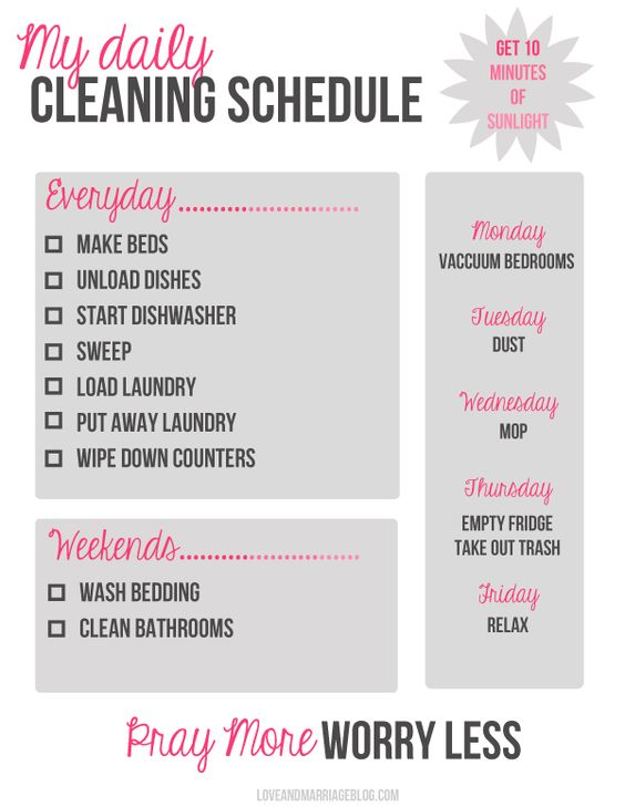 The Best Free Printable Cleaning Checklists  Cleaning Schedules