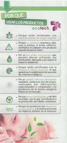 por qué usar ECOTECH, la gama de limpieza ecológica del hogar certificada con la Etiqueta Ecológica Europea (ECOLABEL)