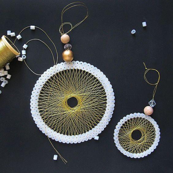 String art hama perler diy christmas ornaments by frk hansen perler beads hama - String ornaments christmas ...