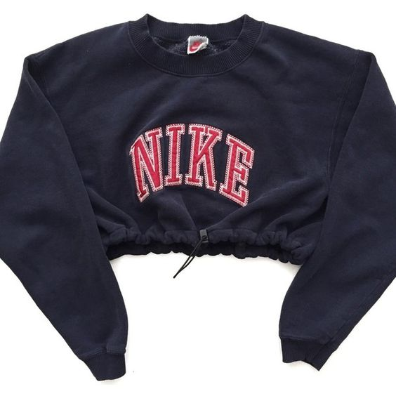 Reworked Nike Crop Sweatshirt Navy (1.070.400 VND) ❤ liked on Polyvore featuring tops, sweaters, crop top, navy blue top, navy blue crop top, navy top and navy crop top