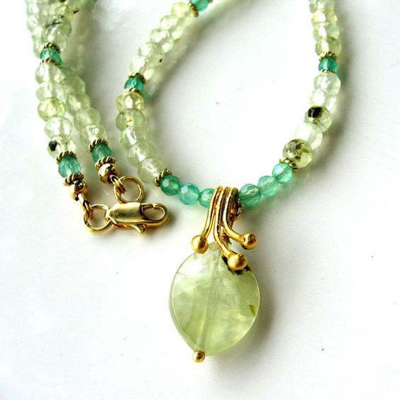 Green Gemstone Necklace - Gold and Prehnite Beaded Necklace - Modern Gemstone and Pendant Necklace on Etsy, $59.00