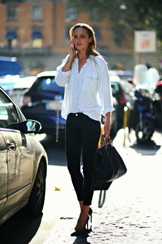White shirt, black jeans and black pumps