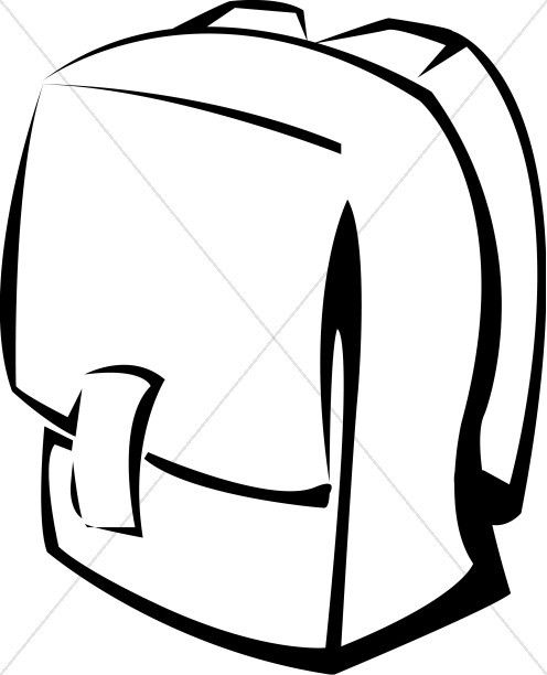 Black And White School Backpack Christian Classroom Clipart Pertaining To Classroom Objects Clipart Black And White 34658
