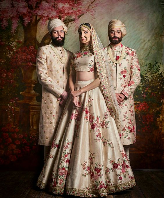 Indian Lehenga Choli Designs For Wedding Beige Outfit by Sabyasachi Mukherjee