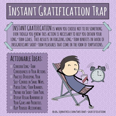 The Instant Gratification Trap is when you choose not to do something even though you know this action is necessary to help you obtain your long-term goals.