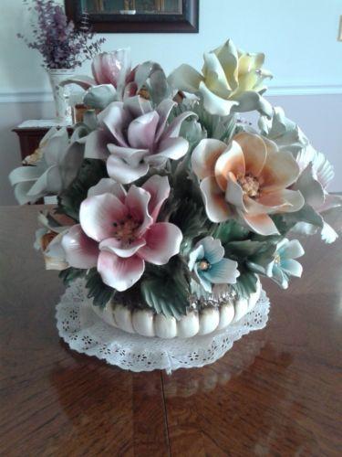 Capodimonte large flower basket ebay centerpiece