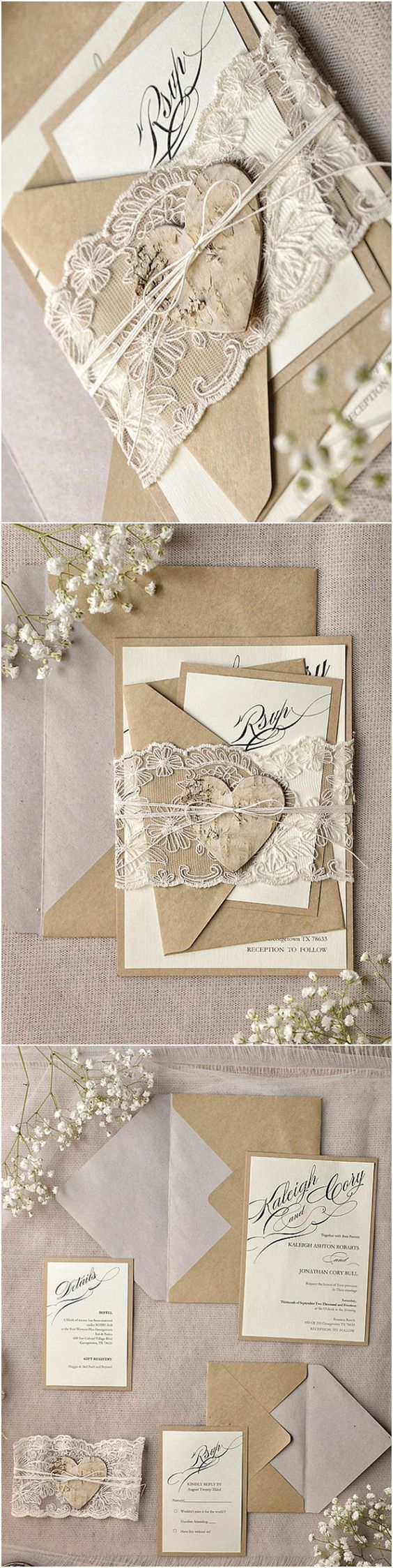 Rustic Calligraphy Recycled Lace Wedding Invitation Kits