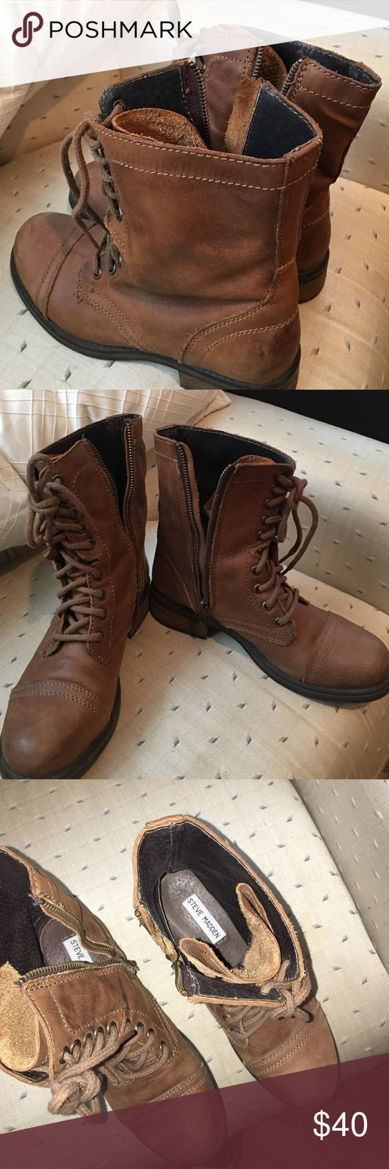 Steve Madden combat boots sz 8.5 Brown leather, worn like 3 times, great like new shape! Steve Madden Shoes Combat & Moto Boots