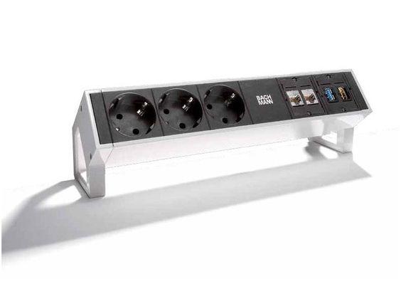 Bachmann DESK 2 3x Steckdose 2x CAT6 1x USB 1x HDMI Inox 902.502
