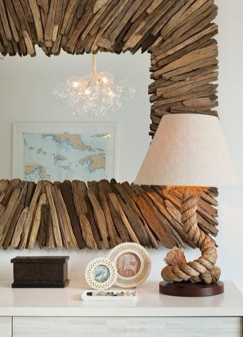 Large Currey and Co Driftwood Mirror. Featured on Completely Coastal. Shop the Look!