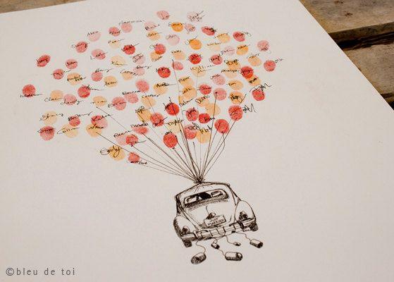 Guest book fingerprint BALLOON kit hand drawn tandem by bleudetoi