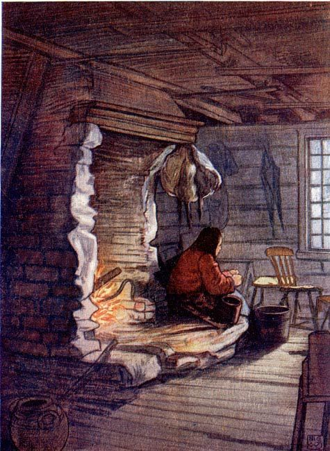 MAKING THE DINNER—A COTTAGE INTERIOR AT SÆLBO